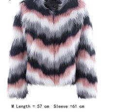 284d7b3eebd6 Pink color mixing faux fur coat Fluffy warm outerwear