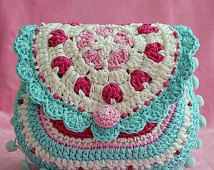 Hearts purse - crochet pattern, purse, DIY