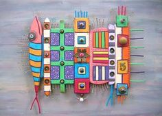 Tótems, escultura Original de la pared del objeto encontrado, tallados en madera, arte, decoración de la pared, Fig Jam Studio de pared