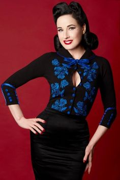 5a78bf656d4 Dita Von Teese Cardigan - Royal Blue Blood - black with royal blue  embroidery