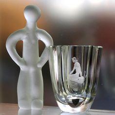 Orrefors Engraved Crystal Vase, Nude Woman by the Water, Landberg Designed