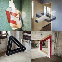 No Photoshop here. Some great geometric anamorphic projections (say that five times fast) painted on abandoned Parisian buildings.   See many more photos from Fanette Guilloud's 'Impossible Geometry' on Colossal:  http://www.thisiscolossal.com/2013/10/impossible-geometry-fanette-guilloud