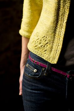 Vodka Lemonade is a springy sweater with a vintage vibe. Seed stitch and lace details add texture and a feminine touch, and the classic styling ensures that it will go with jeans and a tank just as easily as a sundress and sandals.
