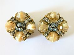 Vintage 60s Signed Hobe Cluster Beaded Rhinestone Clip On Earrings, Hobe Earrings, Hobe Jewelry, Mid Century, Retro Costume Jewelry by DecoOwl on Etsy