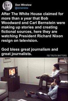 Bob Woodward and Carl Bernstein watching president Nixon resign. See more Funny pictures Be sure to share this post with your friends on social media Don Winslow, Faith In Humanity Restored, Social Issues, Journalism, Thought Provoking, Videos, Funny Pictures, Funny Pics, Funny Stuff