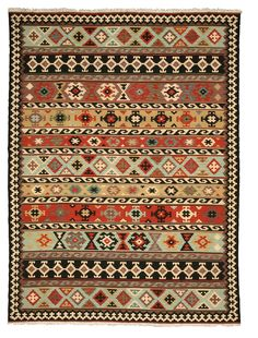 EORC Hand-knotted Wool Multicolored Traditional Geometric Kyle Kilim Rug