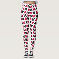 Mickey Mouse | Black and Red Pattern Leggings