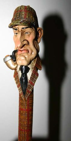Sherlock Holmes Pen! Dremel Wood Carving, Wood Carving Art, Wooden Walking Sticks, Walking Sticks And Canes, Funny Caricatures, Celebrity Caricatures, Fantasy Figures, Wooden Statues, Whittling