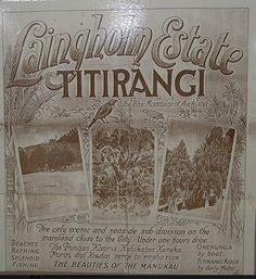 """LAINGHOLM, on the shores of the Manukau Harbour, Auckland, New Zealand .... """"The Blue Mountains of Auckland"""" Fantastic old advertising poster"""