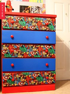 Before & After: Plain Dresser Gets a Heroic Makeover #superheroes