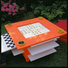 DIY Outdoor Game Table ... Use glow in the dark paint for night.