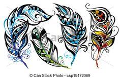Vecteur - plumes - Banque d'illustrations, illustrations libres de droits, banque de clip art, icônes clipart, logo, image EPS, images, graphique, graphiques, dessin, dessins, image vectorielle, oeuvre d'art, art vecteur EPS