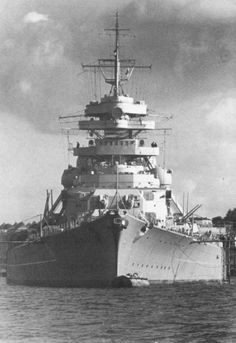 Bismarck in Kiel. The battleship Bismarck made fast to Buoy A 12 in Kiel in late September 1940. This photo offers a good view of the enormous 36-meter beam. The Bismarck was the widest battleship in the world. Only the Japanese battleships of the Yamato Class (then still under construction) would have a wider beam of 37 m.