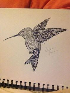 zentangle hummingbird in flight