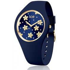 99€. Boitier rond silicone bleu 40mm taille M, cadran bleu motif fleur, bracelet silicone bleu, étanche 100m Ice Watch, Bracelet Silicone, Deep Blue, Fashion Watches, Gucci, Flowers, Jewelry, Medium, Quran Book