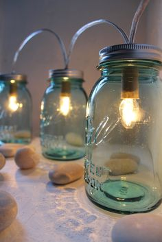 Sapphire Mason Jar Lights - Glass Banner Style - Modern Industrial Rustic Farmhouse - Handrcrafted Upcycled BootsNGus Lighting Fixture. $125.00, via Etsy.