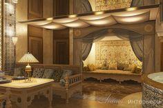 Проект клуба (1050м2).Комната отдыха в восточном стиле в зоне турецкой бани. Подробнее о проекте на сайте студии - www.line-interior.ru