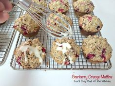 These lovely muffins have super humongous muffin tops and are incredibly festive and beautiful. Filled with cranberries, orange juice and zest and pecans, with a delightful streusel and orange glaze, they make an amazing holiday breakfast. Cranberry Fruit, Cranberry Orange Muffins, Blueberry Cupcakes, Blueberry Bread, Take A Meal, Lemon Frosting, Baking Muffins, Streusel Topping, Pastry Blender