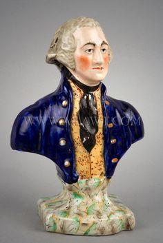 """STAFFORDSHIRE"" Bust of George Washington.  A Very Good Likeness."