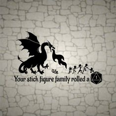 Dungeons and Dragons Your Stick Figure Family rolled a 1 / vinyl Dragon decal / RPG / vinyl sticker for cars windows / gifts for geeks