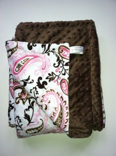 Minky Baby  Blanket  Pink Paisley and Brown by DesignsByDiBlankets, $57.00