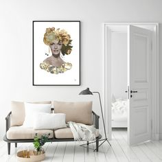 White livingroom walls with original collageart by MANGT