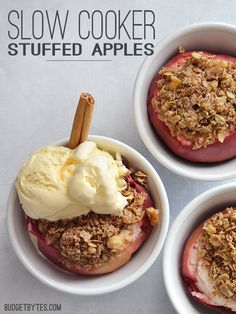 These naturally sweet Slow Cooker Stuffed Apples are the perfect single serving dessert for the holiday season. Easier than apple pie and just as delicious! @budgetbytes