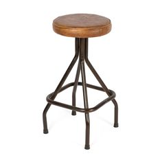 Loft Leather Iron Stool from The Shelley Panton Store