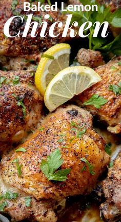 Easy Baked Lemon Chicken is a dinnertime superhero. With only 4 ingredients, it will be in the oven and baking in 5 minutes flat. Crispy, crackly skin and juicy meat - an absolute favorite around here! #chicken #meat #chickenrecipe #meatrecipe #amazingrecipe #bakedchickenrecipe #lemonchicken