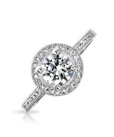 Bling Jewelry Bling Jewelry Circlet Cz Solitaire Engagement Ring Vintage Style Silver