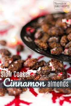Cinnamon Almonds roasting in the slow cooker is the perfect way to make your whole house smell like Christmas. The cinnamon and sugar coating gives the almonds a sweet crunch. via Favorite Family Recipes Slow Cooker Bbq, Slow Cooker Recipes, Crockpot Recipes, Cooking Recipes, Casserole Recipes, Cooking Tips, Breakfast Recipes, Snack Recipes, Dessert Recipes