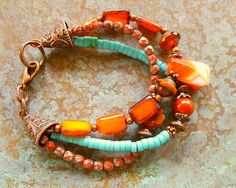 Orange Picasso bracelet, Turquoise bracelet, bohemian bracelet, southwestern…
