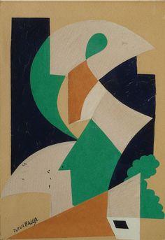 Giacomo Balla (1871-1958, Italy; futurism) | Figure + Paesaggio 1914 (collage; private collection)