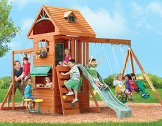 Двухуровневый игровой домик с деревянной крышей с пластиковыми элементами и слуховым окошком - Горная крепость - Solowave Design (Канада - Китай) - happy  - Доставка - бесплатно !!!