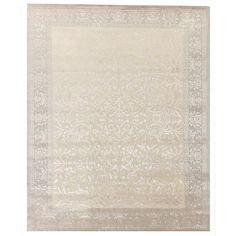 Tibetan-weave Ivory Hand-spun New Zealand Wool and Silk Rug (6' x 9')