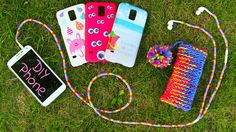 DIY 10 Easy Phone Projects. DIY Phone Case, DIY Phone Pouch & DIY Headphones. In this DIY tutorial I take my new Samsung Galaxy S5 and show 10 simple ways to make it more girly and fun. I am beautifying a bunch of phone cases, headphones and making a protective pouch. For the DIY phone pouch we need a cup, bobby pins and yarn. Cup + bobby pins = knitting loom. Then take some yarn and knit a cute phone pouch. For headphones you need some beads and for phone cases a plain or transparent case.