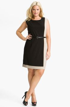 Calvin Klein Colorblock Belted Sheath Dress (Plus Size) available at #Nordstrom