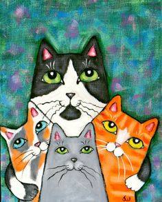 Four Cat Pose Painting at ArtistRising.com