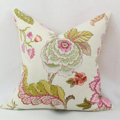 Pink green floral pillow cover 18x18 20x20 22x22 by JoyWorkshoppe