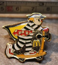 McDonalds Hamburglar Scooter Metal Collectible Pinback Pin Button #McDonalds