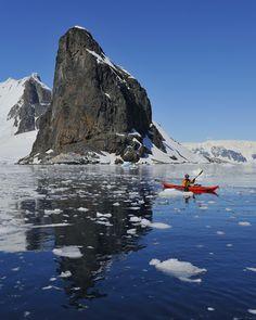"""Paddling Through Ice"" ~ Photo by Tony Beck on .~ Kayaking around Orne Harbour, Antarctic Peninsula Kayak Fishing Tips, Canoe And Kayak, Kayaks, Kite Surf, Kayak Boats, Exploration, Paddle Boarding, Rafting, The Great Outdoors"