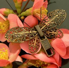 Steampunk Brooch - Zipper Brooch - Butterfly Brooch