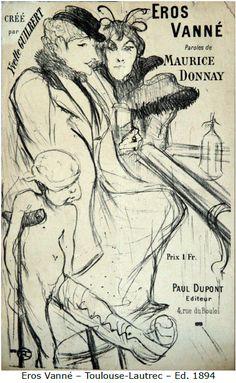 Musical score of the song Eros Vanné illustrated by Henri de Toulouse-Lautrec. Singer Yvette Guilbert. (Galerie Boulev'arts)