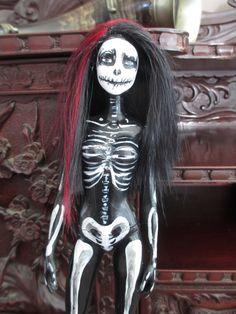 Barbieesque Halloween Skeleton Doll by PugPropaganda on Etsy, $29.99