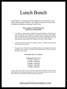 Lunch Bunch Anyone?: Planning and Scheduling | Savvy School Counselor: