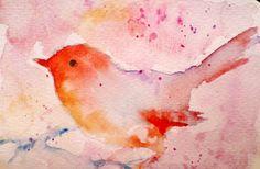 Fantasy bird 2  original handpainted  postcard by Natureandart, $25.00 by Maria Kitano