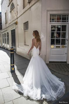 riki dalal fall 2017 bridal spagetti strap deep plunging sweetheart neckline heavily embellished bodice tulle skirt sexy elegant mermaid wedding dress low back chapel train (1906) bv