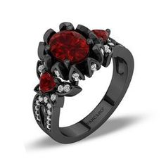 Gothic Jewelry Rings Black Petal With Butterflies Oval Cut Vintage Ruby Rose Shaped Engagement Ring - Rose Shaped Engagement Ring, Gothic Engagement Ring, Engagement Ring Shapes, Designer Engagement Rings, Vintage Engagement Rings, Ruby Ring Vintage, Vintage Rings, Gothic Wedding Rings, Gothic Rings