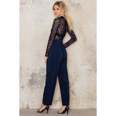 High Neck Lace Jumpsuit (€22) ❤ liked on Polyvore featuring jumpsuits, party jumpsuits, lace jumpsuit, zipper jumpsuit, high neck jumpsuit and jump suit