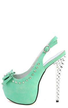 Mint Spiked Bow High Heels; don't know when I would wear them but they look cool